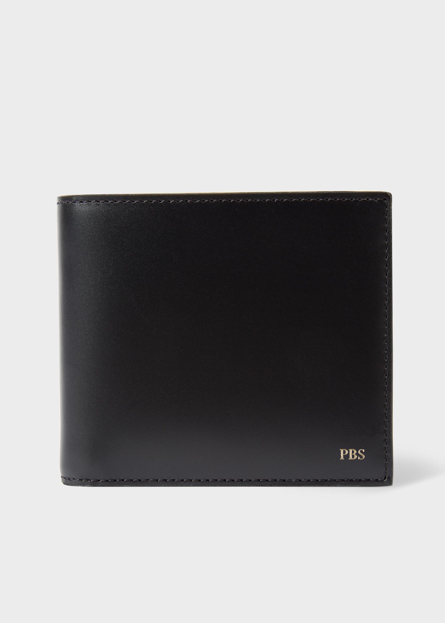 Men S Black Leather Monogrammed Billfold Wallet By Paul Smith