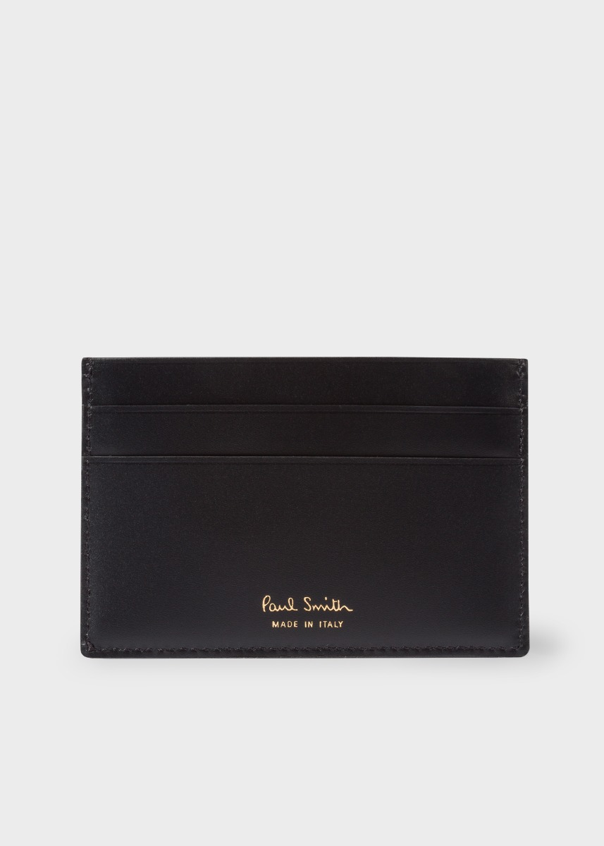 afe1873105b Men's Black Leather Monogrammed Credit Card Holder by Paul Smith