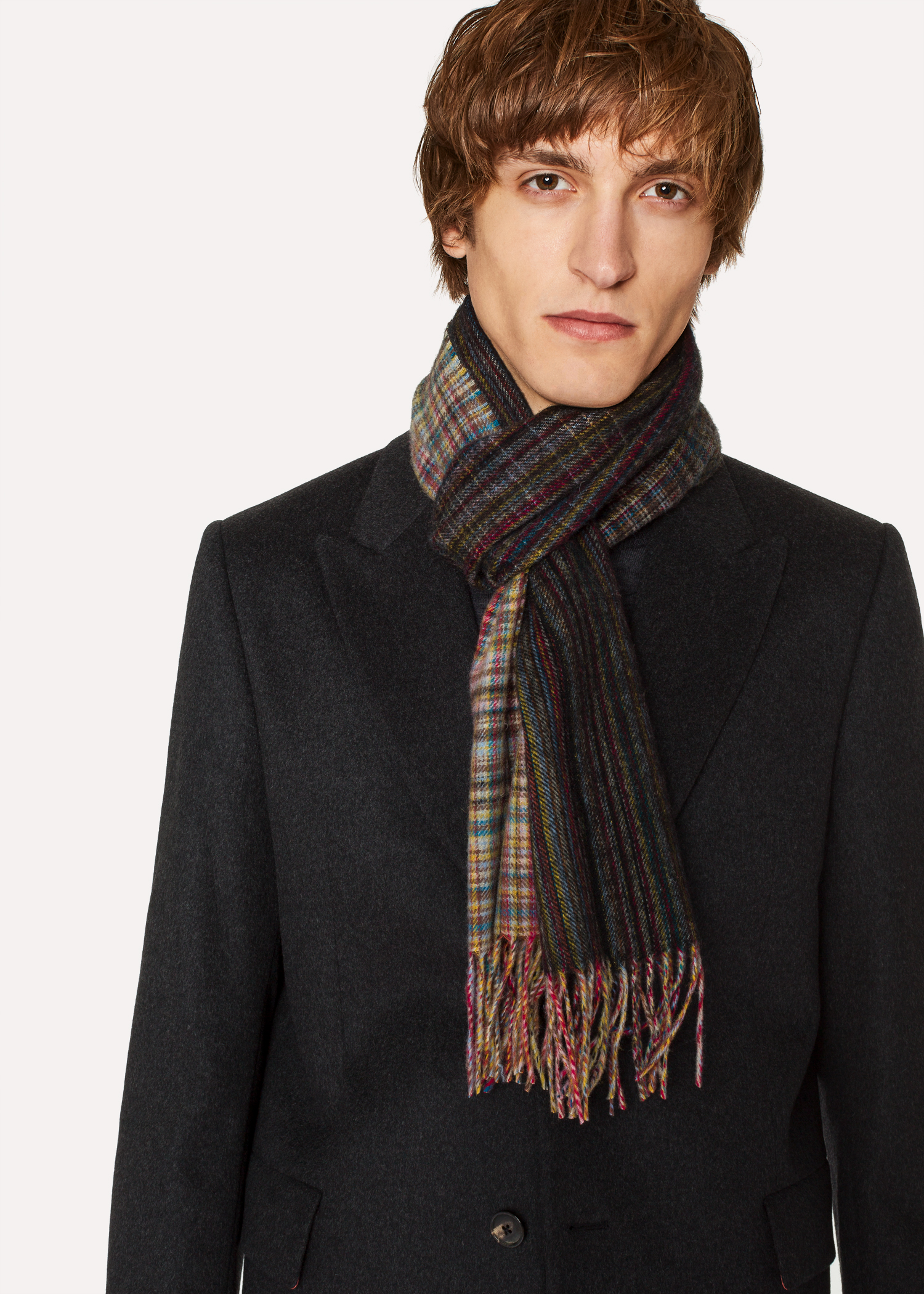 c3cd0d7778746 Men's Mixed Signature Stripe And Check Wool Scarf - Paul Smith