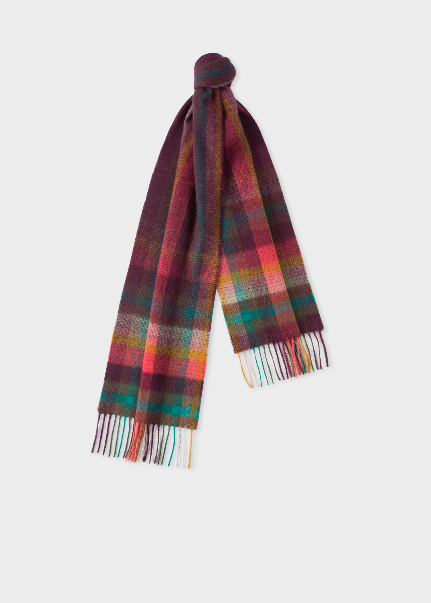 b42d2c225 Men's Damson 'Artist Stripe' Check Cashmere Scarf - Paul Smith