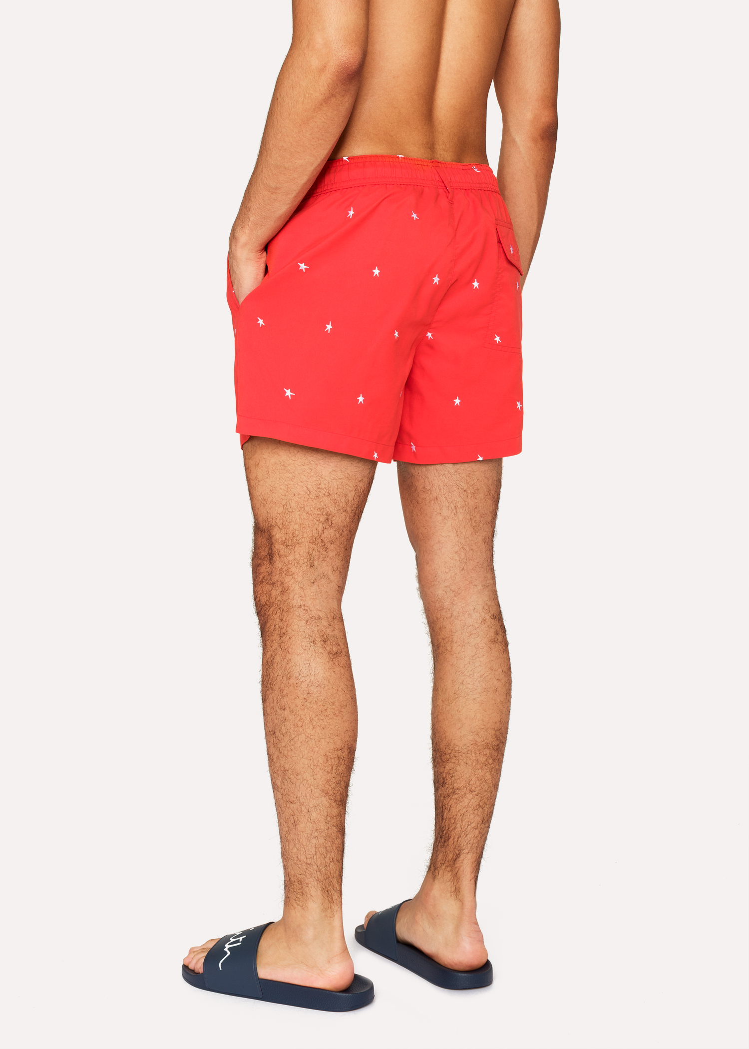 668022b470 Men's Red Swim Shorts With 'Star' Embroidery