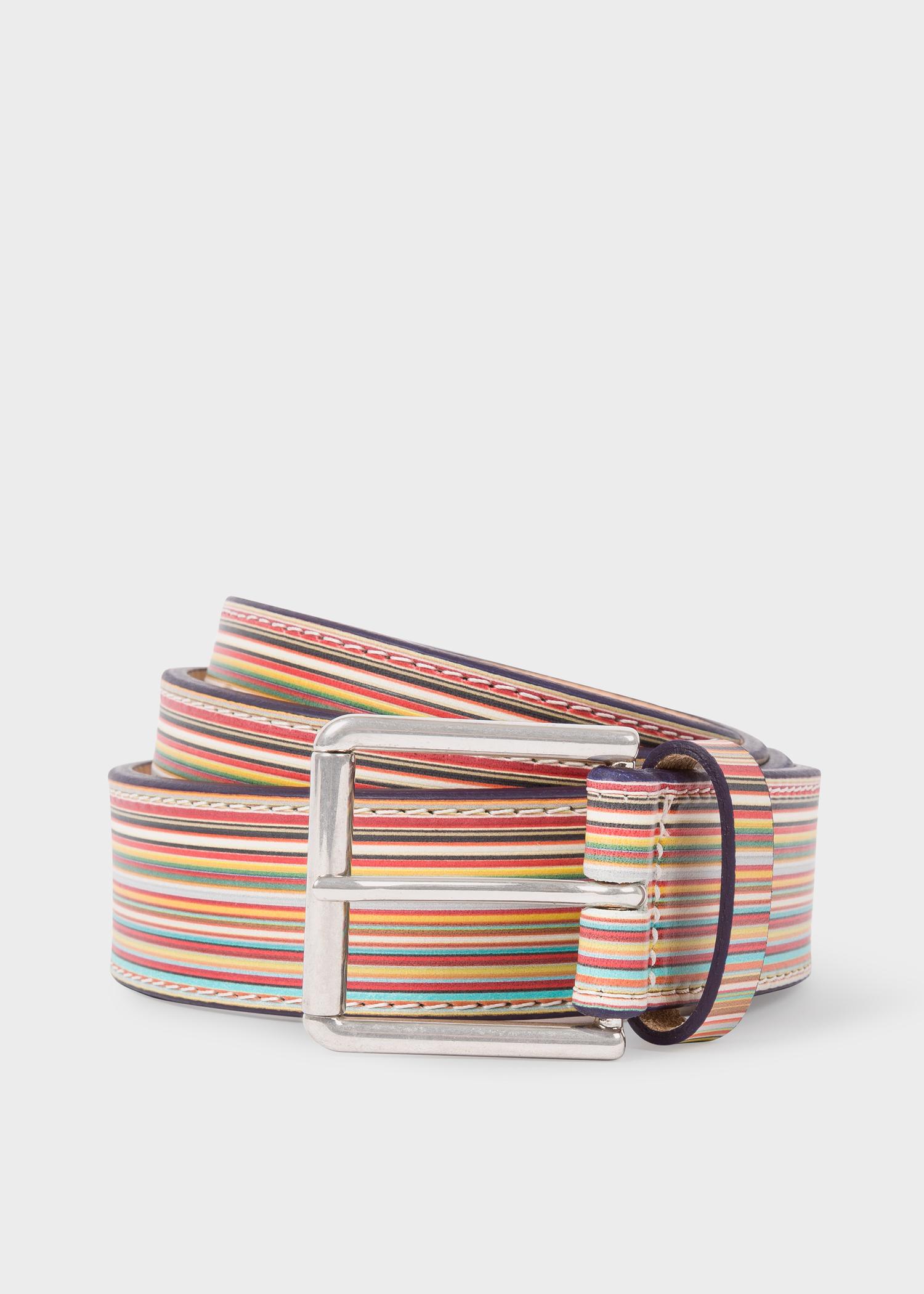 3a9518e478923 Men's Embossed Signature Stripe Leather Belt