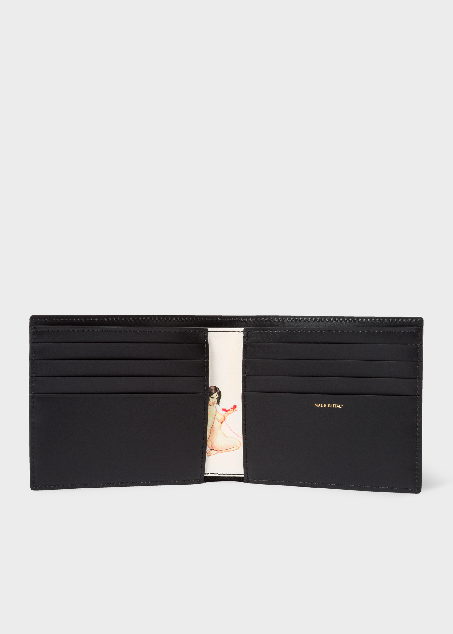 bf86b665e8ff Men's Black Leather 'Naked Lady' Print Interior Billfold Wallet by Paul  Smith