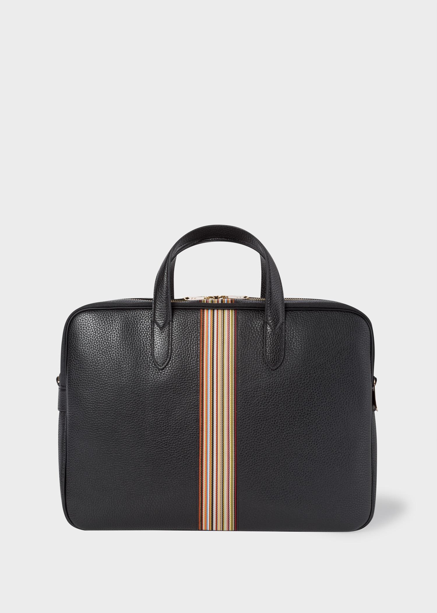 844600316 Men's Black Signature Stripe Leather Business Folio - Paul Smith Asia