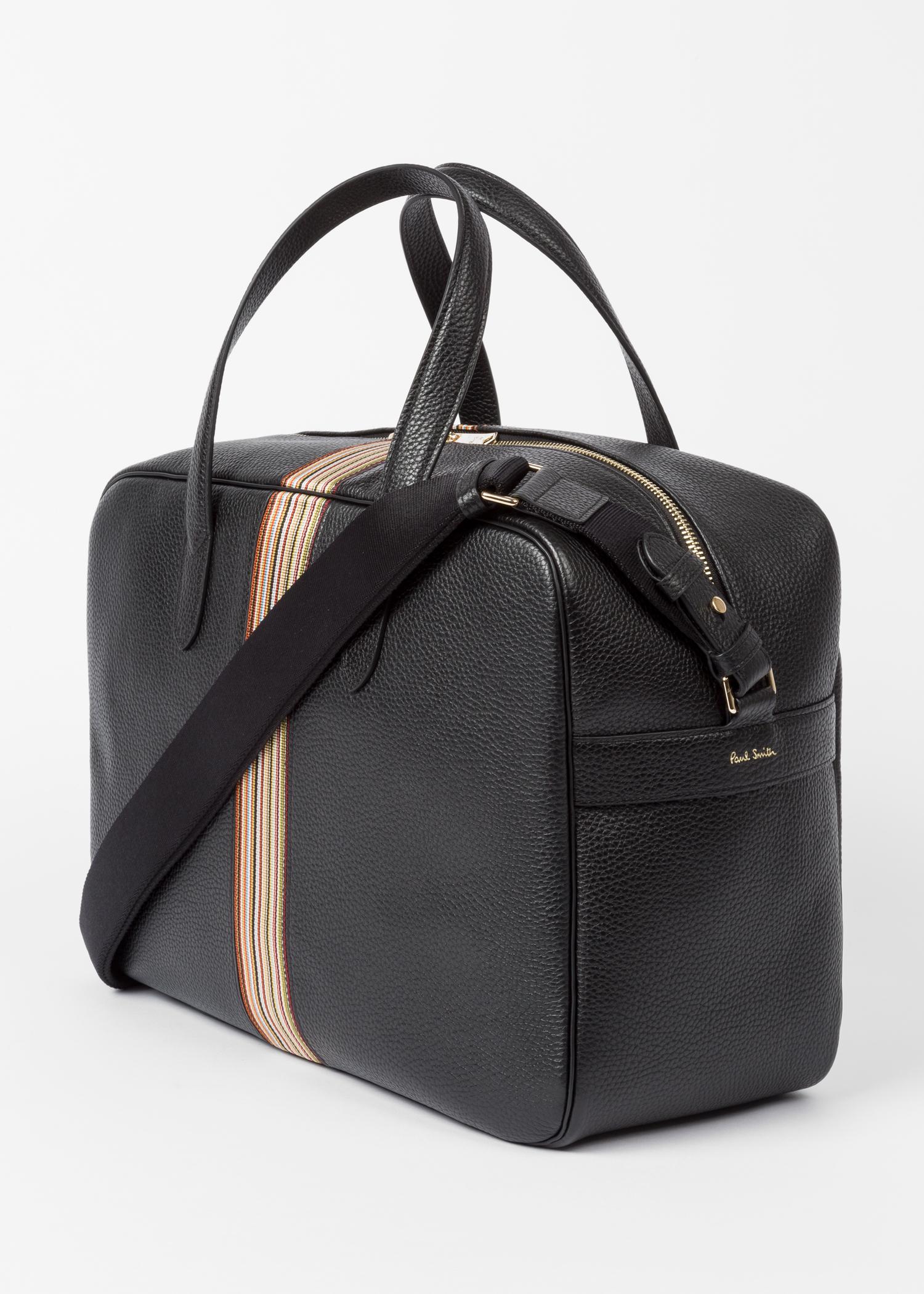 Men s Black Leather Signature Stripe Weekend Bag - Paul Smith US 451681ccbfdc1