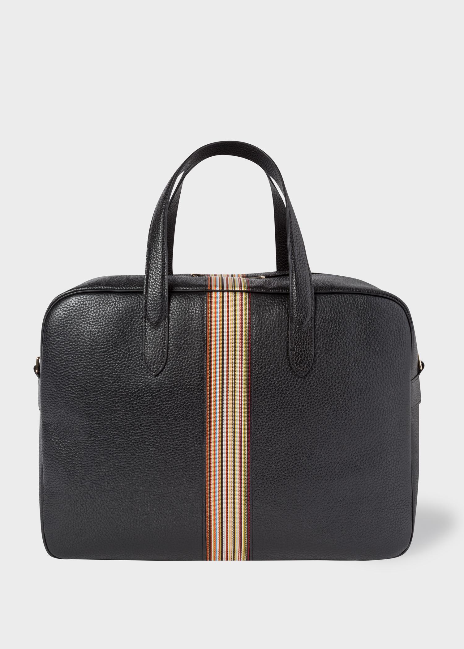 Men's Black Leather Signature Stripe Weekend Bag
