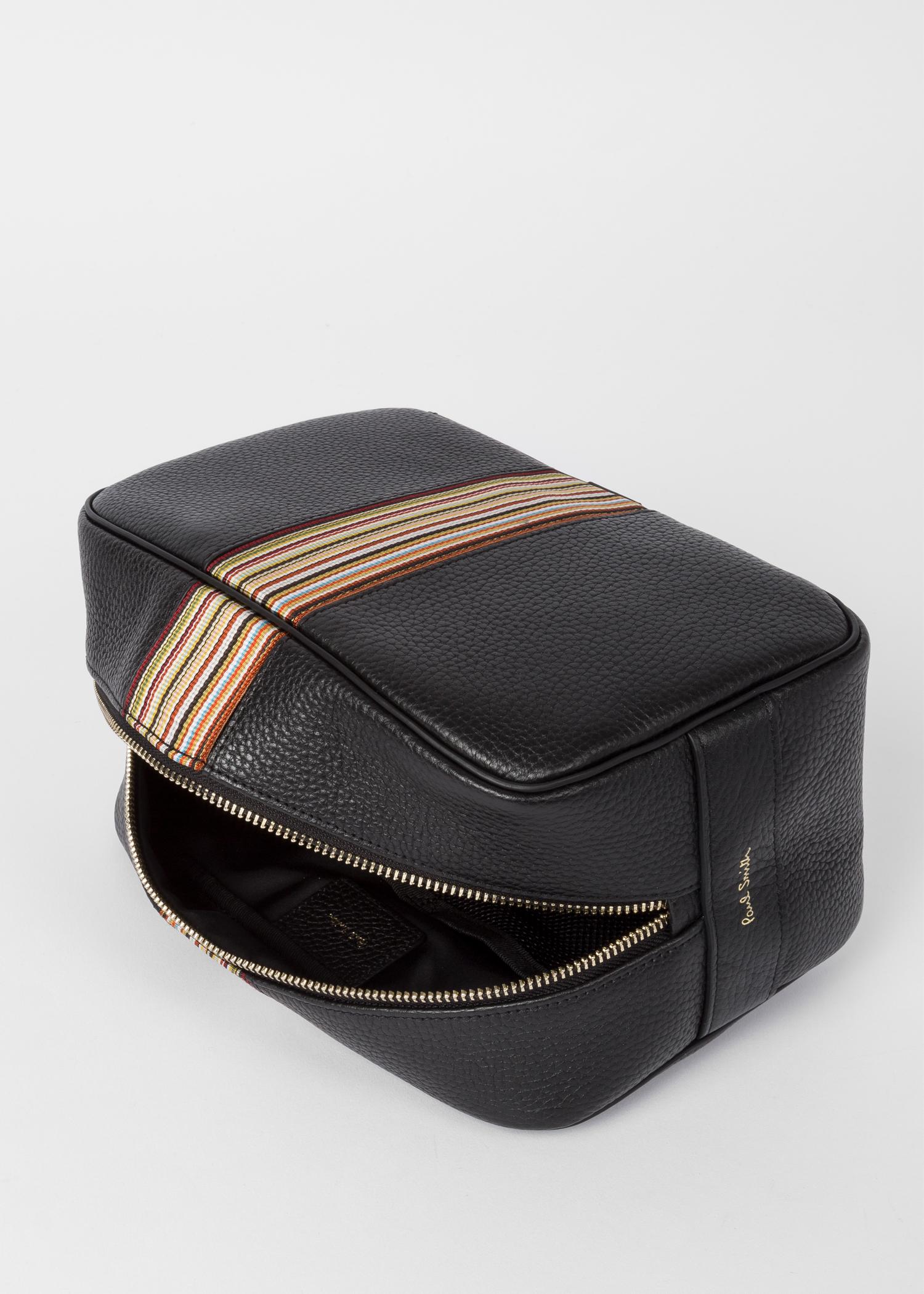 Men s Black Leather Signature Stripe Wash Bag - Paul Smith US afad75869784e