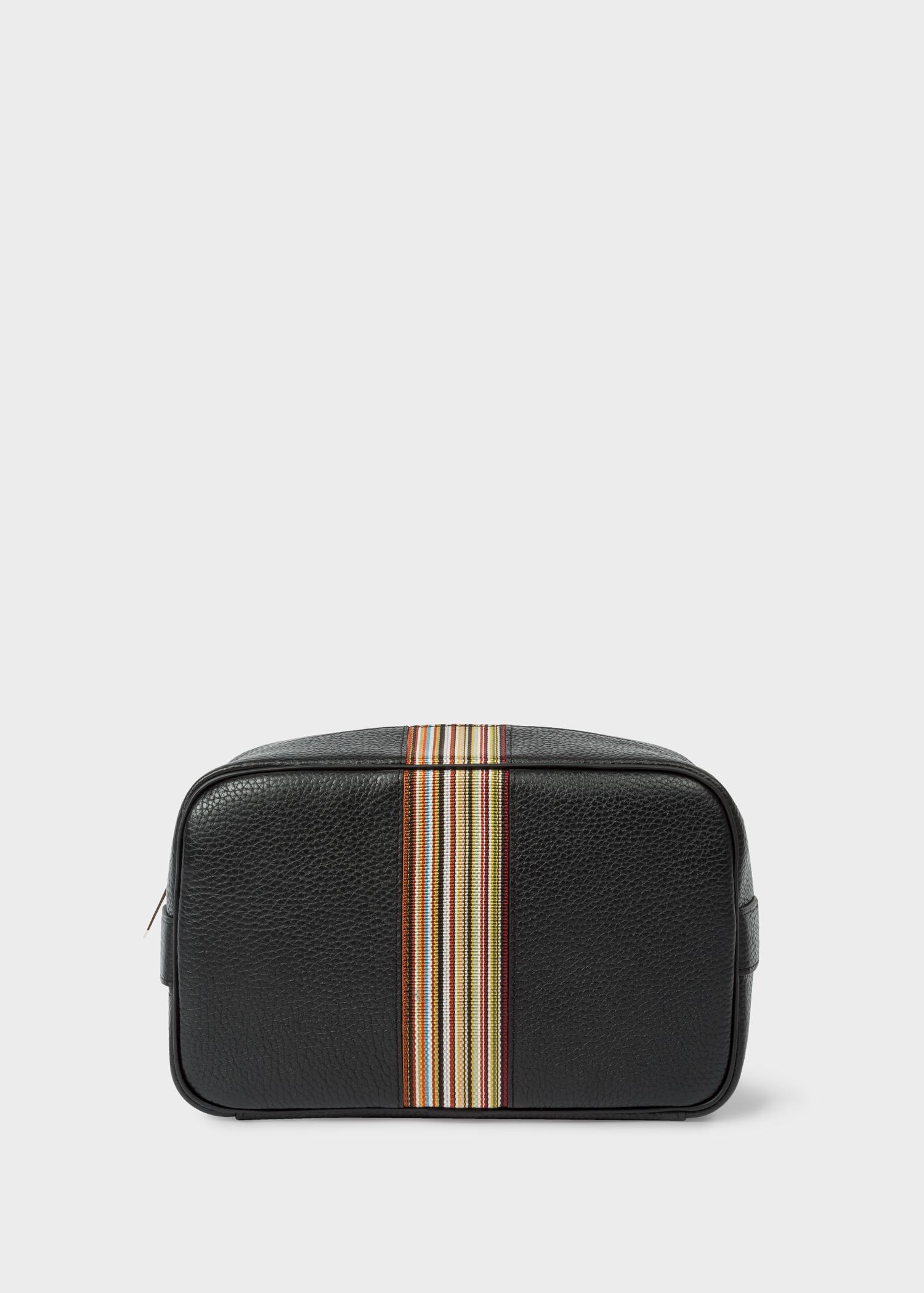 11803ac72 Men's Black Leather Signature Stripe Wash Bag - Paul Smith US