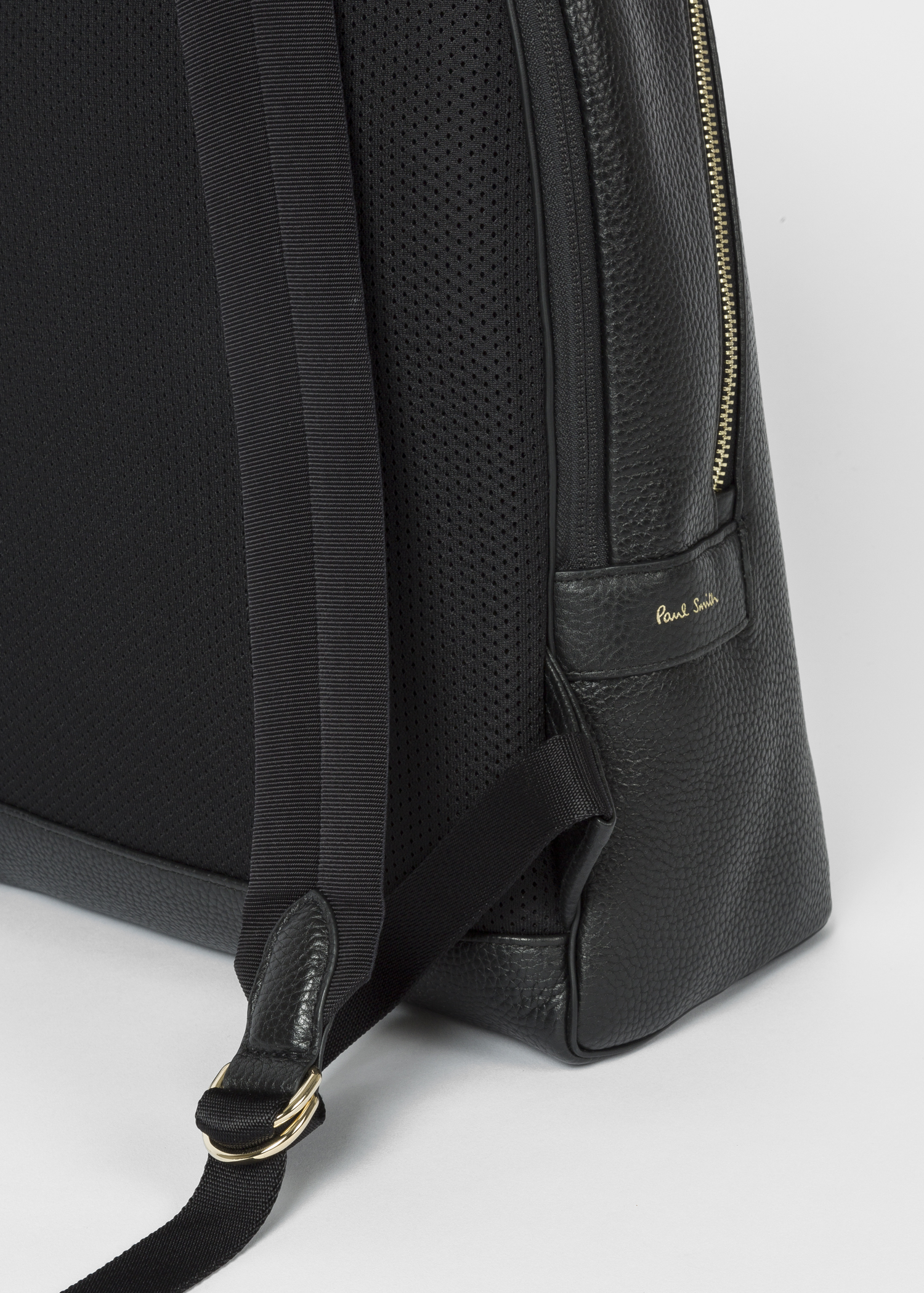 f408b3aa84 Strap view- Men s Black Leather Signature Stripe Backpack by Paul Smith