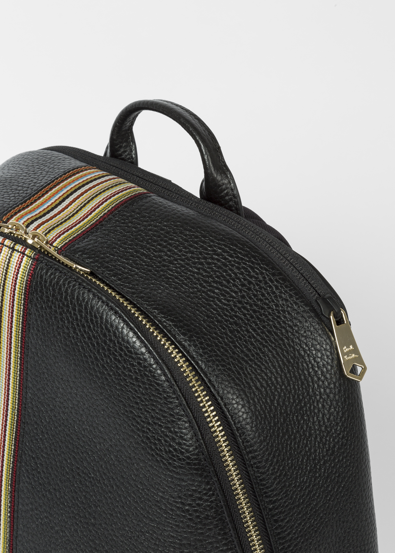 cead5fed50 Zip view- Men s Black Leather Signature Stripe Backpack by Paul Smith