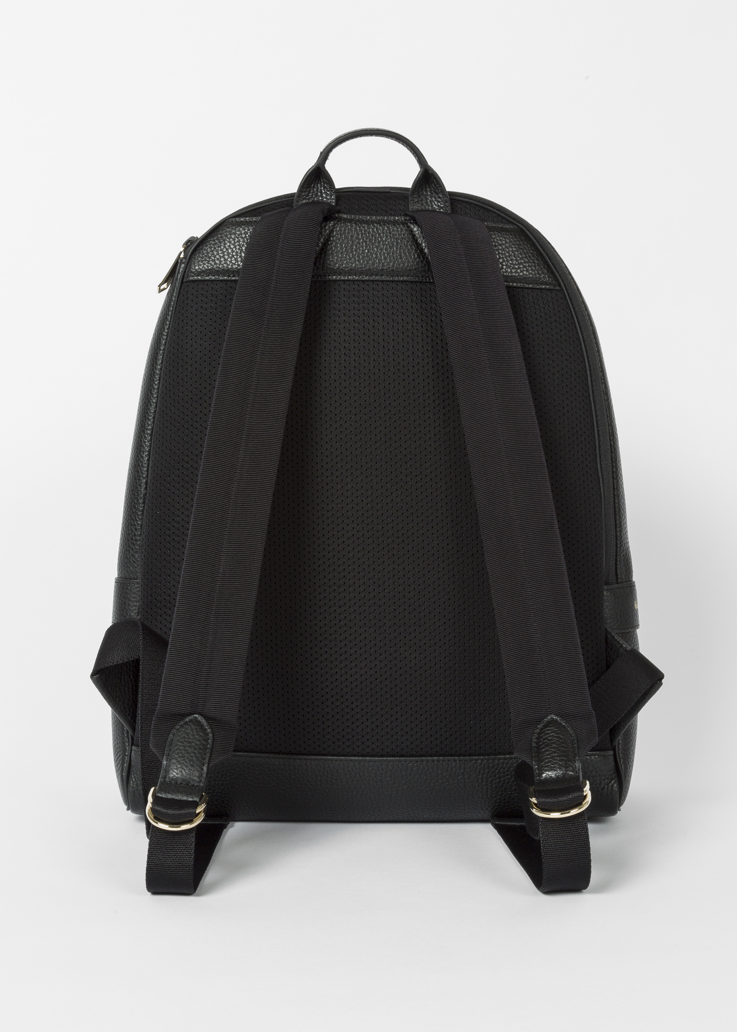 1a3864fbe4 Back view- Men s Black Leather Signature Stripe Backpack by Paul Smith