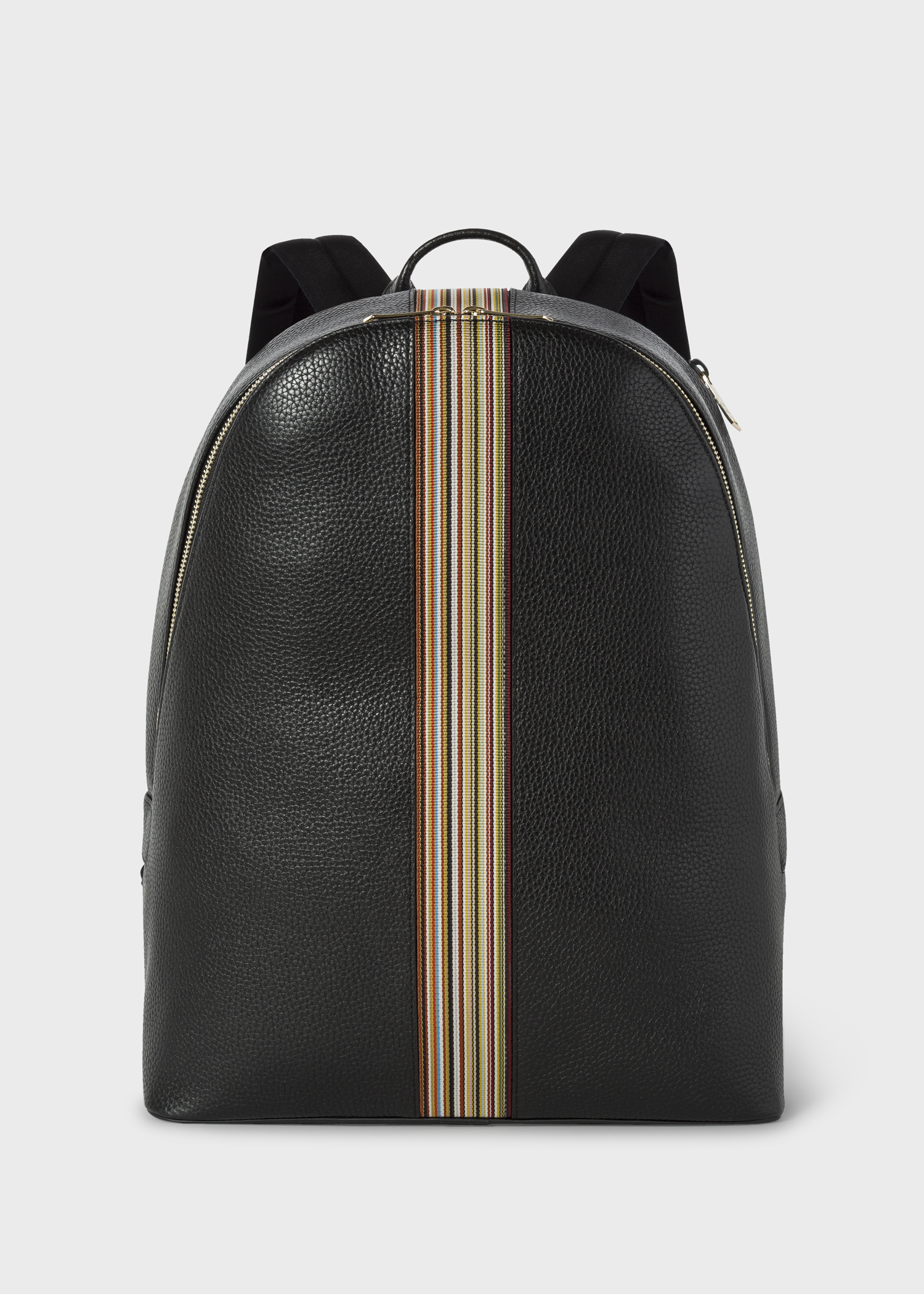 1f6b9891af Front view- Men s Black Leather Signature Stripe Backpack by Paul Smith