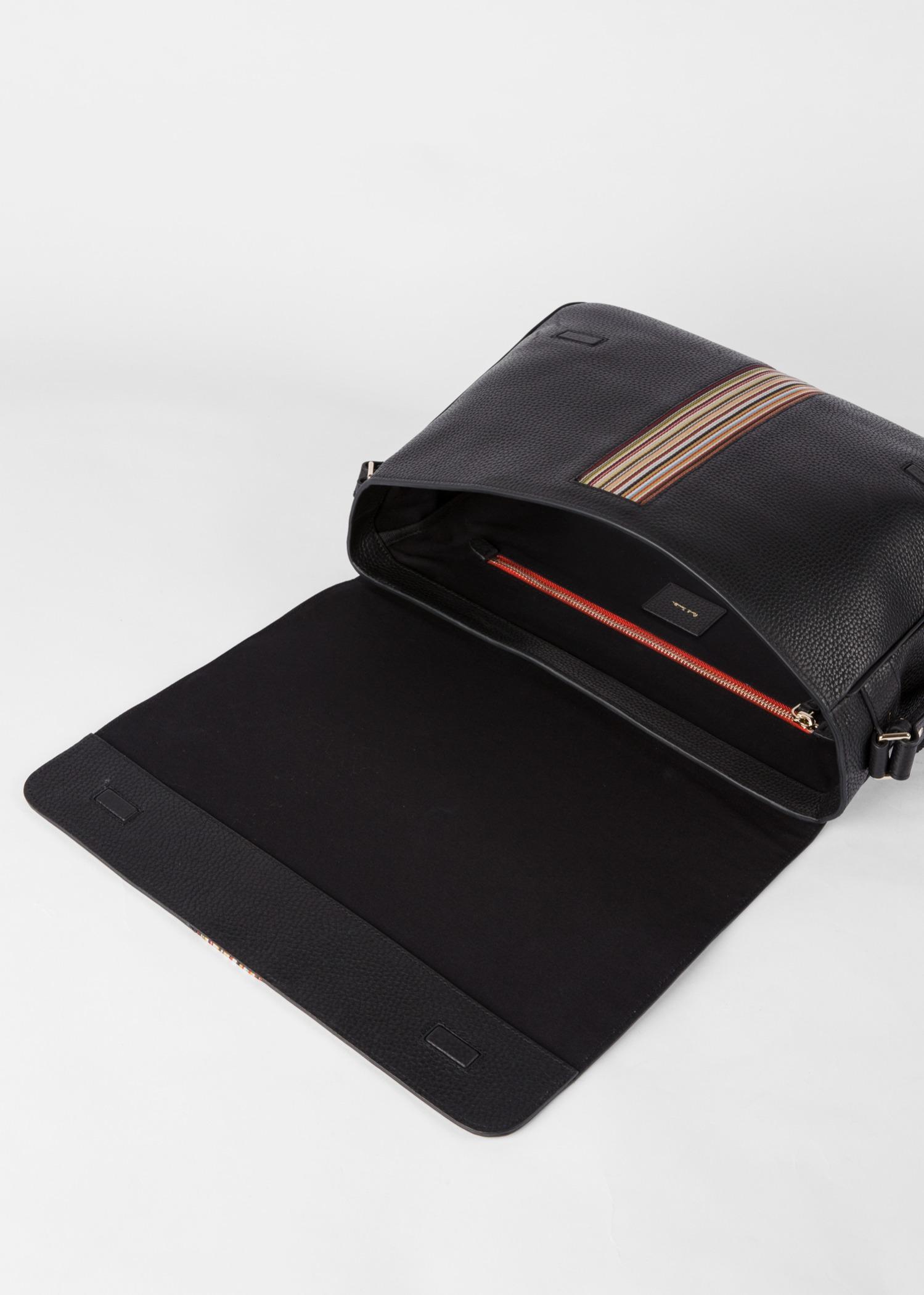 Men S Black Leather Signature Stripe Messenger Bag Paul Smith Asia