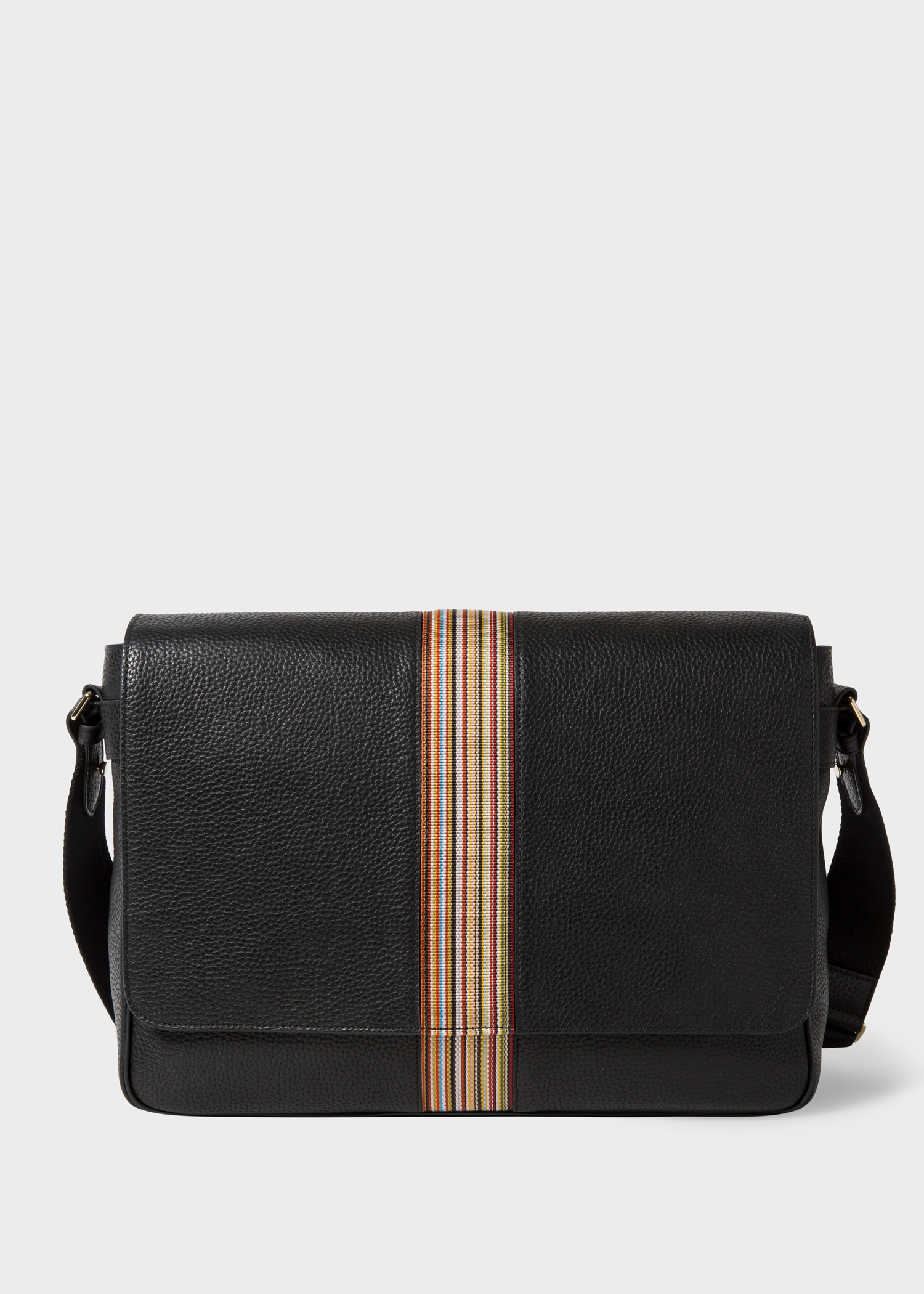 15e1853221 Sac Messenger Homme Noir 'Signature Stripe' En Cuir - Paul Smith ...