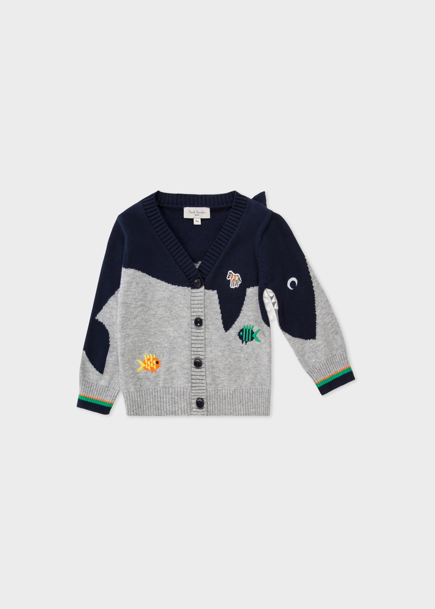 0316e22f8 Baby Boys  Grey  Shark  Jacquard Cotton Cardigan - Paul Smith Asia
