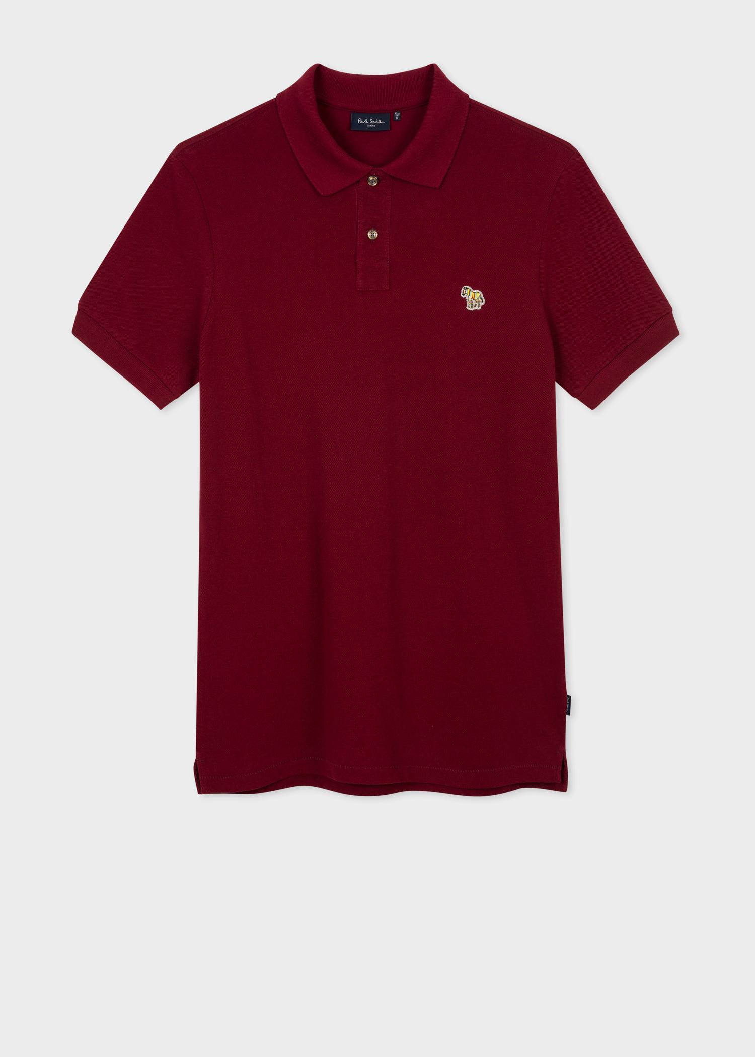 Mens Burgundy Zebra Logo Polo Shirt Paul Smith Us