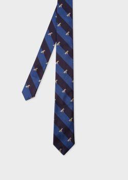 폴 스미스 Paul Smith Mens Blue Stripe Dog Embroidered Motif Silk Tie