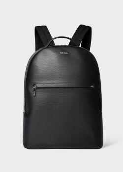 폴 스미스 백팩 Paul Smith Mens Black Embossed Leather Backpack With Bright Stripe Trims