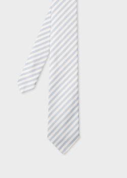 폴 스미스 Paul Smith Mens Light Blue Diagonal Stripe Narrow Tie