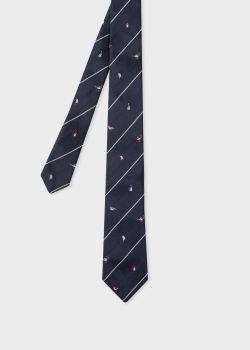 폴 스미스 Paul Smith Mens Dark Navy Birds Embroidery Narrow Silk Tie