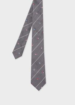 폴 스미스 Paul Smith Mens Grey Birds Embroidery Narrow Silk Tie