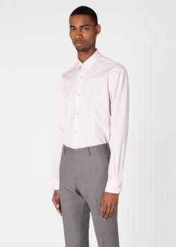 폴 스미스 드레스 셔츠 Paul Smith Mens Tailored-Fit Pink Cotton Artist Stripe Cuff Shirt
