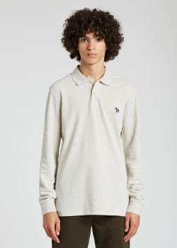 폴 스미스 폴로 셔츠 Paul Smith Mens Ecru Cotton Zebra Logo Long-Sleeve Polo Shirt
