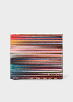 Men's Mixed Stripe Leather Billfold Wallet