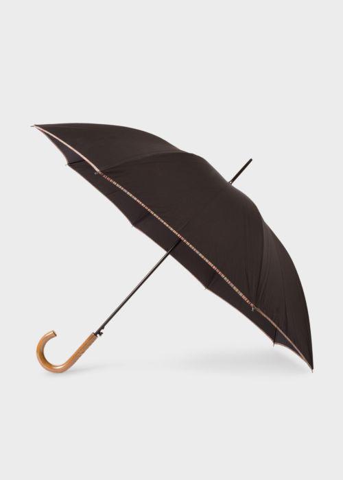 폴 스미스 우산 Paul Smith Black Signature Stripe Border Walker Umbrella With Wooden Handle