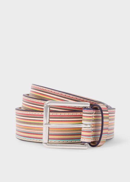 폴 스미스 Paul Smith Mens Embossed Signature Stripe Leather Belt