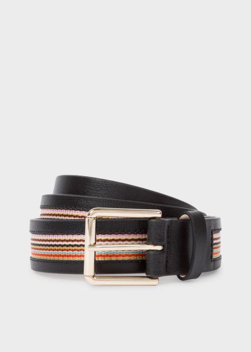 폴 스미스 Paul Smith Mens Black Signature Stripe Trim Leather Belt