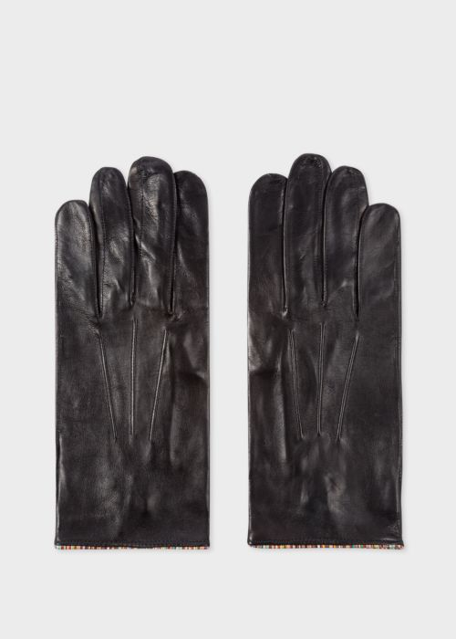 폴 스미스 Paul Smith Mens Black Leather Gloves With Signature Stripe Piping