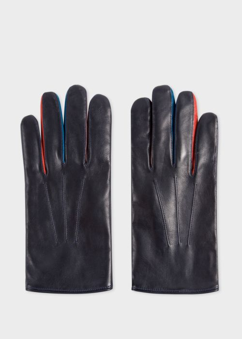 폴 스미스 Paul Smith Mens Navy Lamb Leather Concertina Gloves With Red Piping