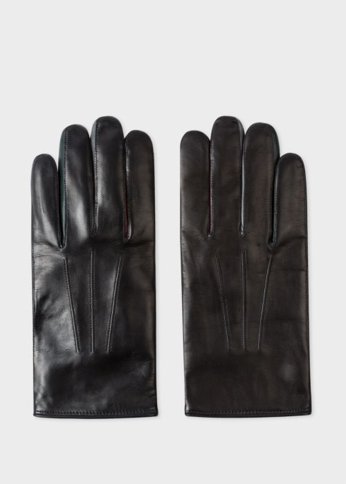 폴 스미스 Paul Smith Mens Black Lamb Leather Concertina Gloves With Dark Green Piping