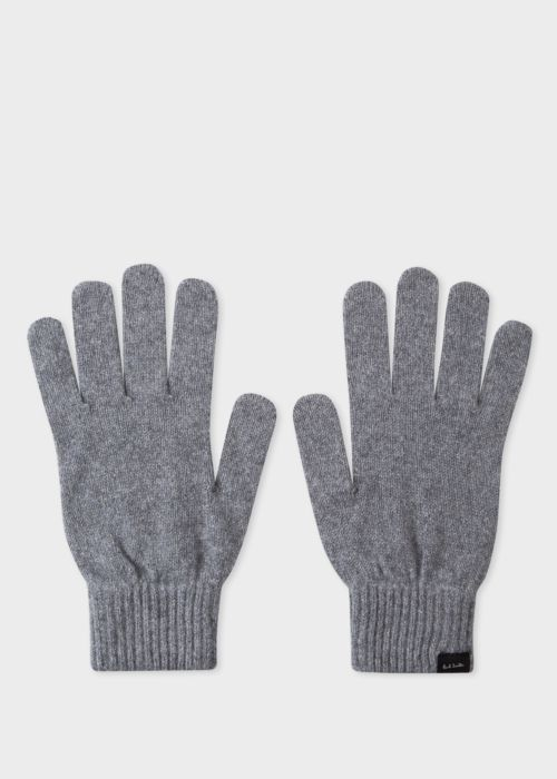 폴 스미스 Paul Smith Mens Grey Cashmere And Merino Wool Gloves