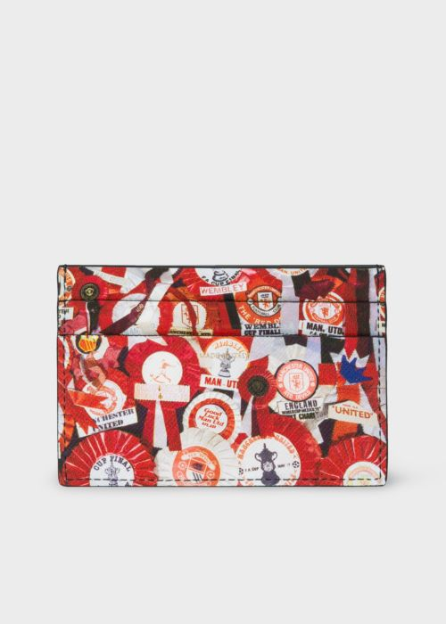 폴 스미스 카드지갑 Paul Smith & Manchester United – Men's 'Vintage Rosette' Print Leather Credit Card Holder