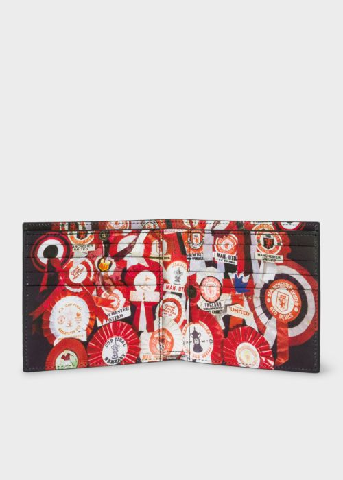폴 스미스 반지갑 Paul Smith & Manchester United – Men's 'Vintage Rosette' Print Interior Billfold Wallet