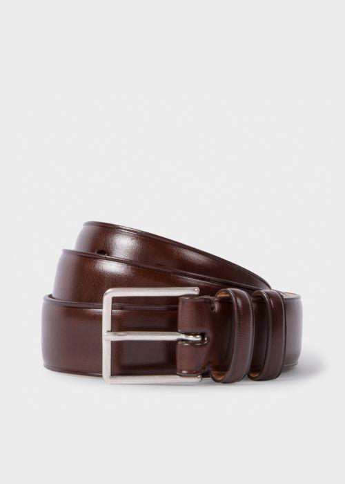 폴 스미스 Paul Smith Mens Chocolate Brown Leather Double Keeper Classic Suit Belt