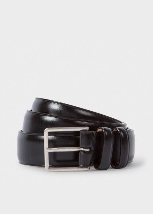 폴 스미스 Paul Smith Mens Black Leather Double Keeper Classic Suit Belt