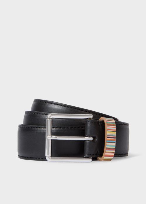폴 스미스 Paul Smith Mens Black Leather Belt With Signature Stripe Keeper