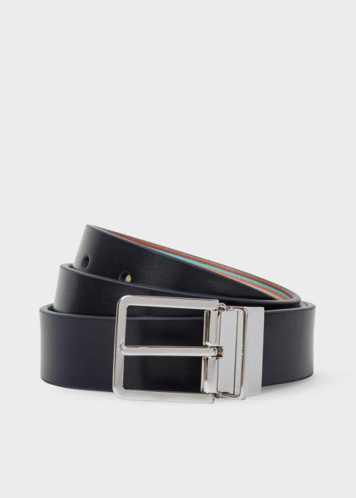 폴 스미스 Paul Smith Mens Signature Stripe And Navy Cut-To-Fit Reversible Leather Belt