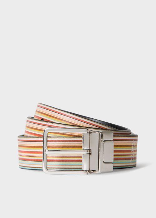 폴 스미스 Paul Smith Mens Signature Stripe And Black Cut-To-Fit Reversible Leather Belt