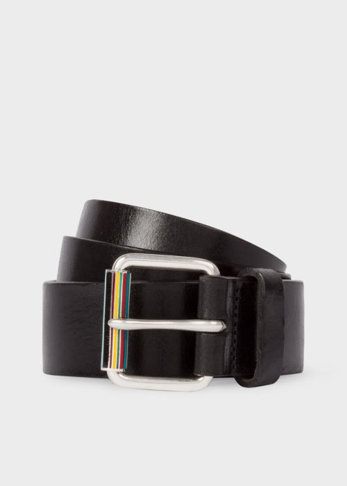 폴 스미스 Paul Smith Mens Black Leather Belt With Signature Stripe Roller