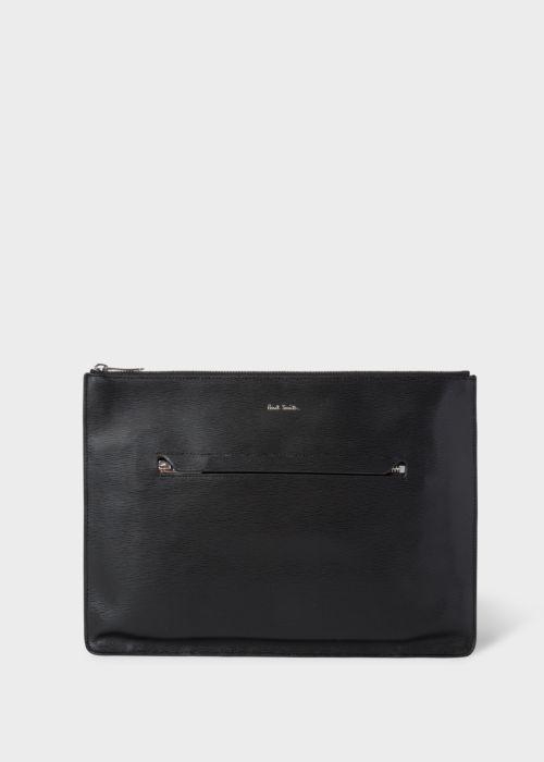 폴 스미스 파우치 Paul Smith Mens Black Embossed Leather Document Pouch With Bright Stripe Trim
