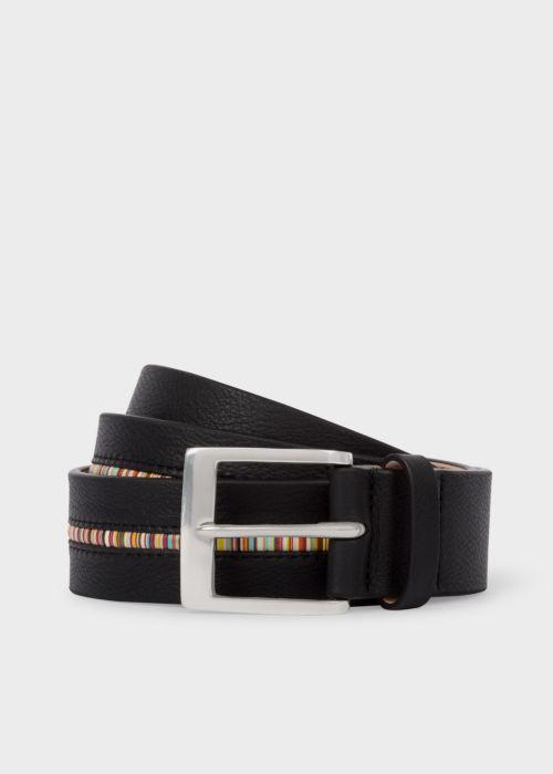 폴 스미스 Paul Smith Mens Black Leather Belt With Signature Stripe Insert