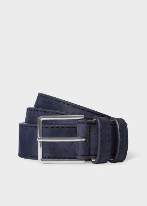 폴 스미스 Paul Smith Mens Navy Nubuck Leather Belt With Silver Buckle