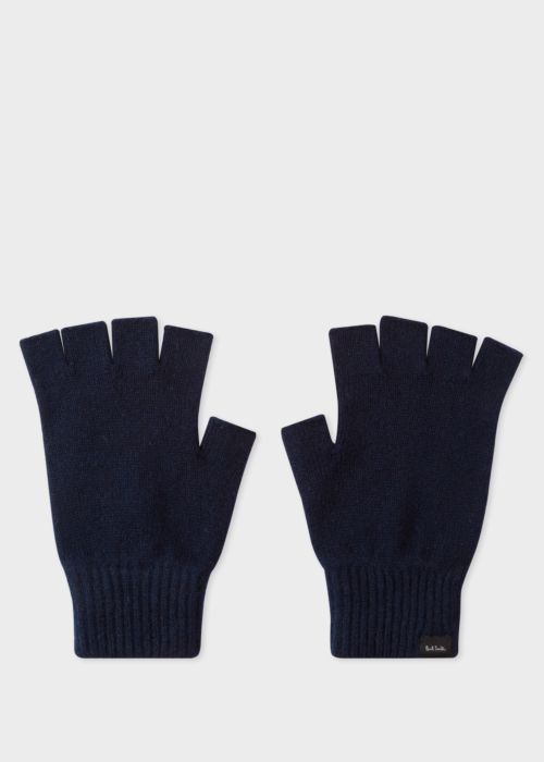 폴 스미스 Paul Smith Mens Navy Cashmere And Merino Wool Fingerless Gloves