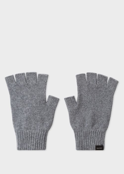 폴 스미스 Paul Smith Mens Grey Cashmere And Merino Wool Fingerless Gloves
