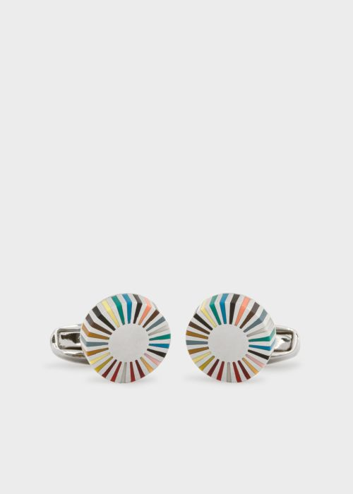 폴 스미스 커프링크스 Paul Smith Mens Multi-Coloured Stripe Edge Circular Cufflinks