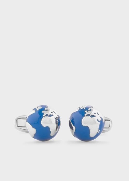 폴 스미스 커프링크스 Paul Smith Mens Navy and Silver Globe Cufflinks